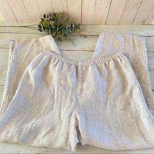 Eileen Fisher Organic Linen Check Straight Pant
